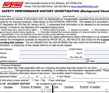 Required for Driving Positions only. One Form Required For Each Employer Over the Past 3 Years.